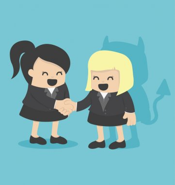 Illustration Cartoons concepts Businesswoman shaking hand with d