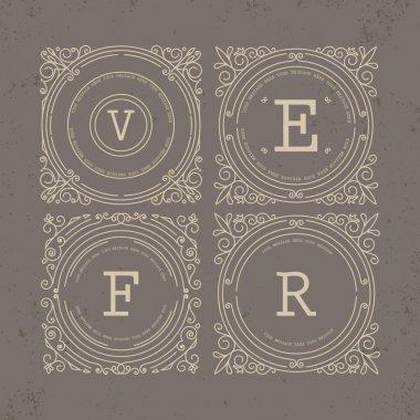 Set of Vintage Frames for Luxury Logos for cafe, shop, store, re