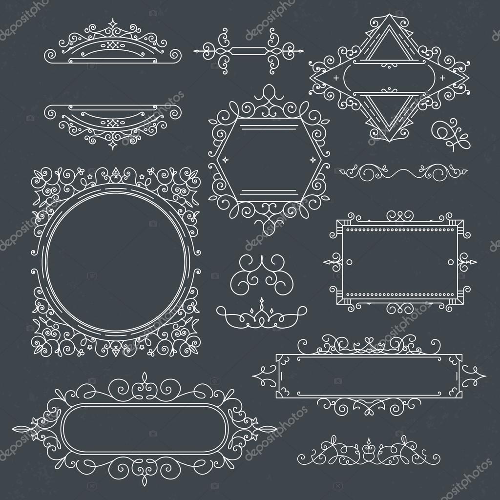 Conjunto de Marcos Vintage de lujo Logos para café, tienda, tienda ...