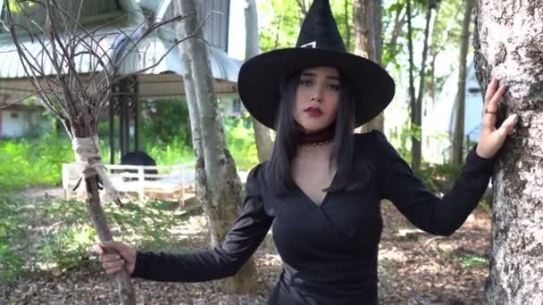 Asiatische schöne Frau mit schwarzem Kleid und Hexenhut im Freien, Halloween-Konzept