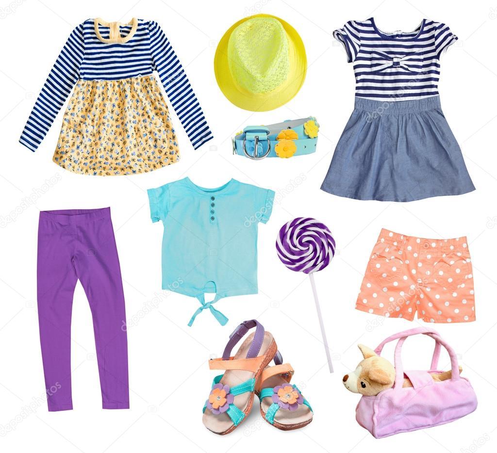 30b577aab Collage de ropa de niña de niño aislado. Desgaste del cabrito en fondo  blanco. Ropa de primavera verano — Foto de ...