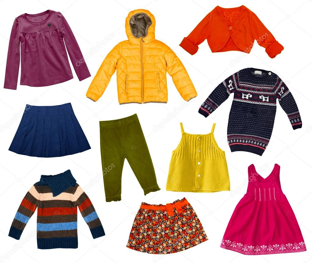 Children modern clothes collage.Female kid s set of clothing.Isolated. —  Фото від NYS 3e827723ad44a