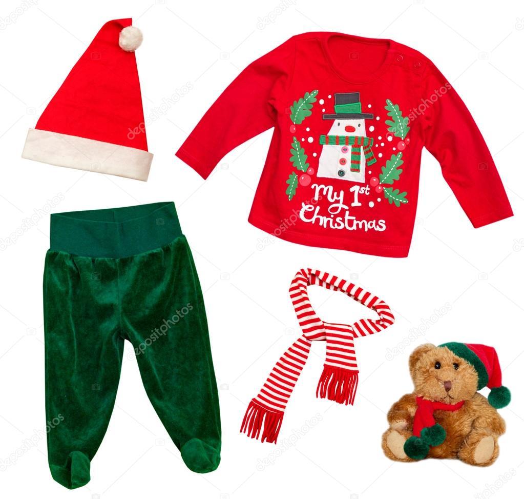 7bd80522a8f52 Père Noël Noël bébé habits isolés sur blanc– images de stock libres de  droits