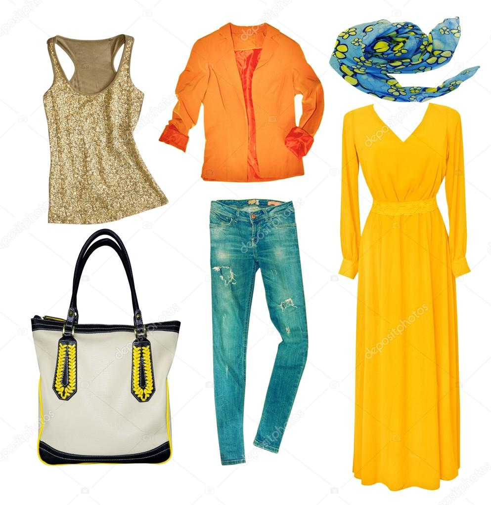 Bright modern clothes set. Collage female clothing. Vogue wear isolated on  white. — Фото від NYS b622e1a2d75d1