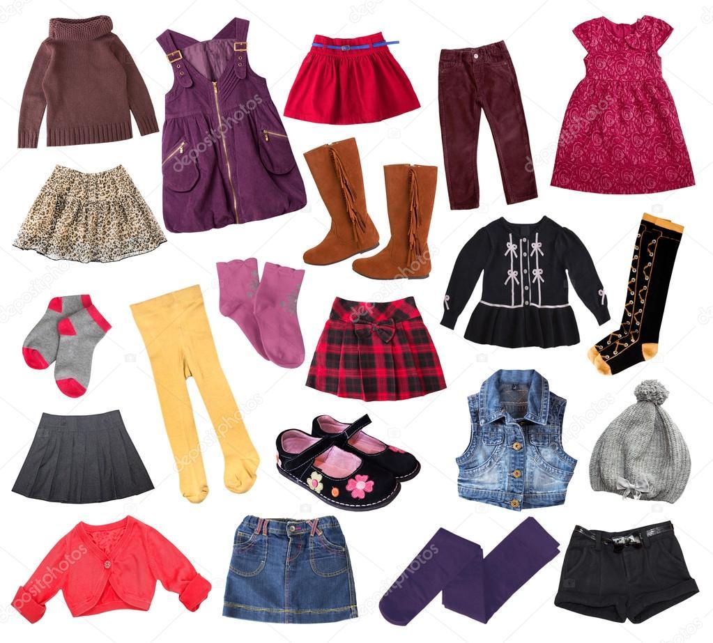 Випадковий дитини дівчина одяг колаж. Дитячий одяг колаж– стокове зображення 936ad59dca722