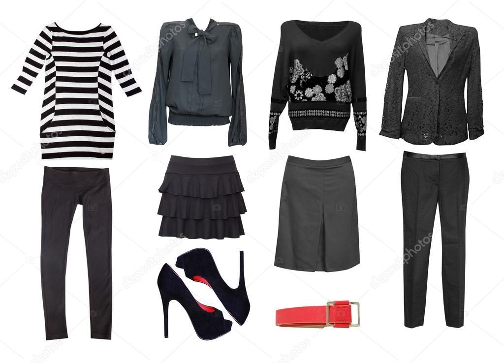 3cb2c4ede07 Коллаж одежда. Черная женская одежда набор. Коллаж женщин одежда ...