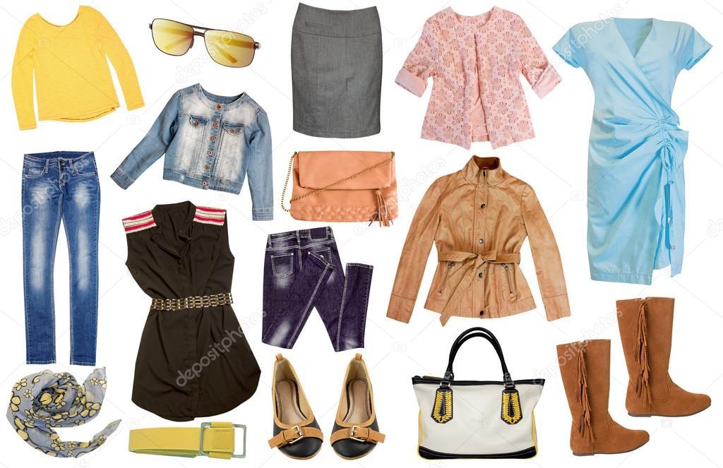 8fefa0eae Mujer de moda conjunto ropa aislado en blanco. Collage de ropa casual de  mujer primavera verano — Foto de ...