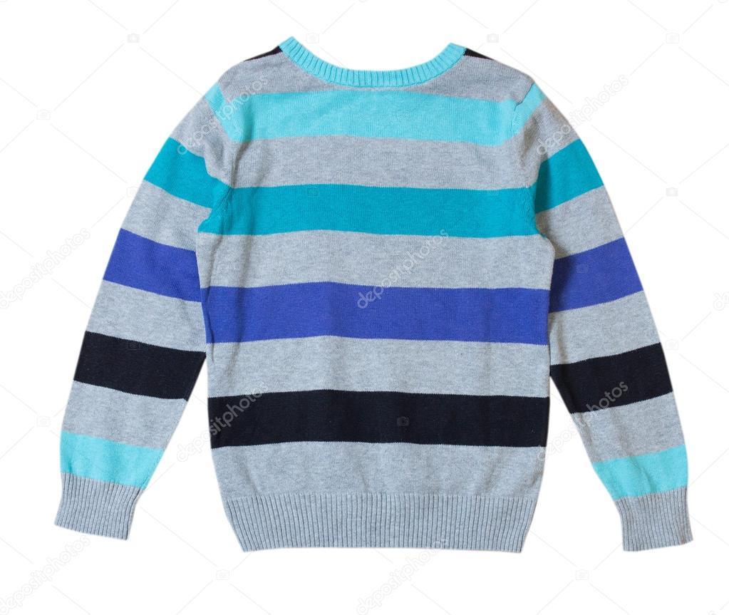 367ebc012853 Ανδρικό πουλόβερ ρίγες απομονωθεί σε λευκό κανείς δεν. Παιδί αγοριού  πουλόβερ — Εικόνα από NYS