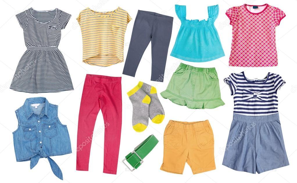 b3b55e3c4 Niño niña collage ropa colores aislada en blanco. Algodón de la ropa  femenina del cabrito. Conjunto de ropa de lujo brillante verano - imágenes   ropa de ...