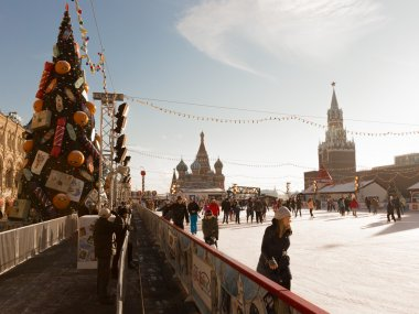 Happy people at the outdoor rink, Moscow