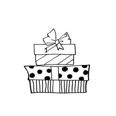 Set of Vector outline hand drawn images of gift boxes in Doodle style. Festive design element for Christmas, Valentines day, birthday, new year, other holiday. icon