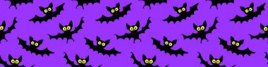 Flying bats seamless pattern. Cute Spooky vector Illustration. Halloween backgrounds and textures in flat cartoon gothic style. Black silhouettes animals on sky.