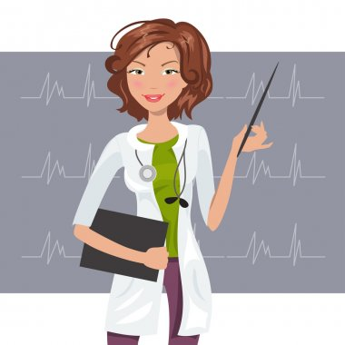 Beautiful female cardiologist in the white coat shows a cardiogram stock vector