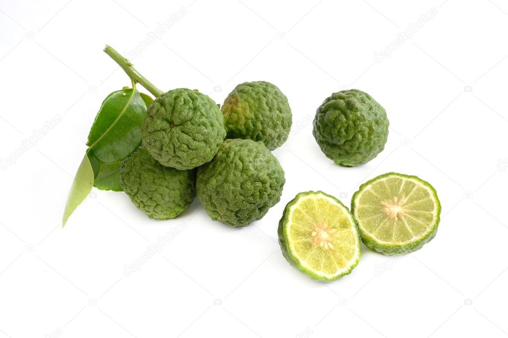 bergamot kaffir lime isolated on white