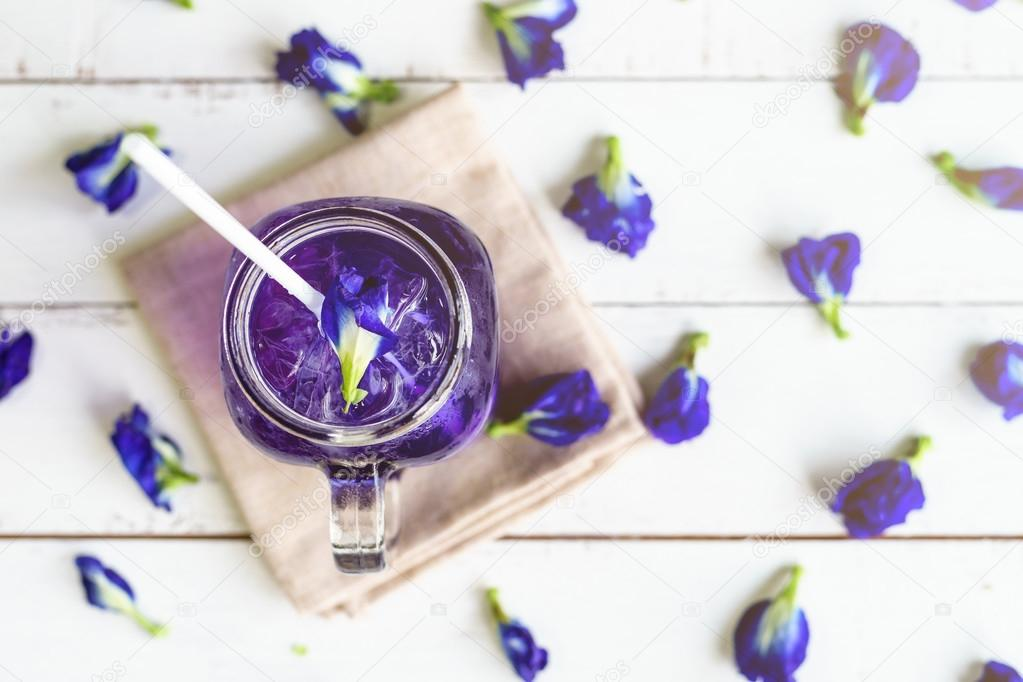 Glass of Butterfly pea or blue pea flower