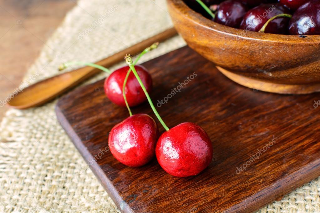 Group of Fresh cherry on wooden table