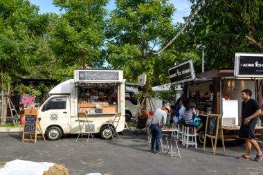 Bangkok, Thailand 25 July,2015: People order meal from food trucks