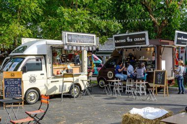 Bangkok, Thailand 25 July,2015: People order meal from food trucks