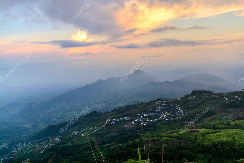 Sunset landscape from Phu Tab Berk hill, Phetchabun province, Th