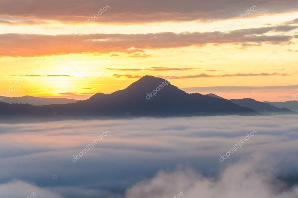 Fog on the mountain at sunset at phu thok chiang khan loei provi