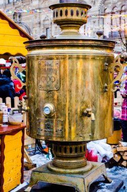 Large samovar at the fair on the Red Square in Moscow