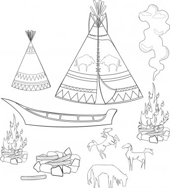 Coloring native american set