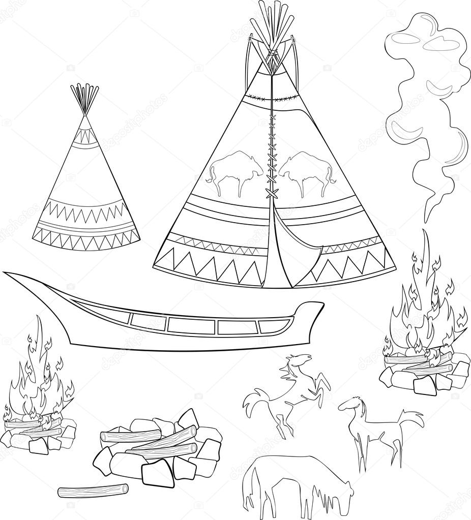 Set para colorear nativo americano — Archivo Imágenes Vectoriales ...