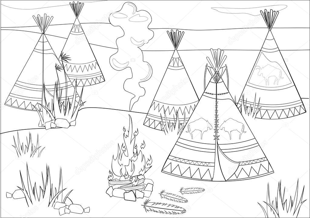 Coloring with halt Indians in prairie