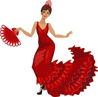 Flamenco dancer in red dress