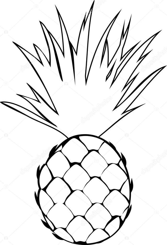 Ananas Ile Boyama Stok Vektör Mariaflaya 100599786