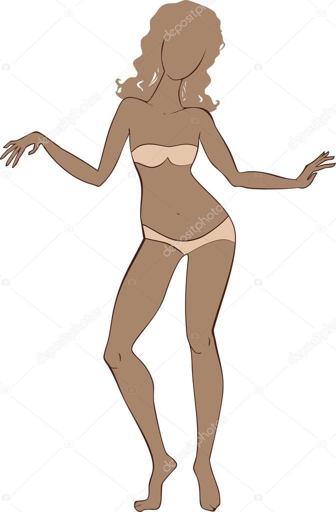plantilla de cuerpo femenino — Vector de stock © mariaflaya #100600226