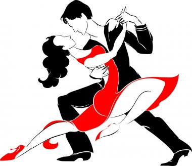 tango dancers on white background