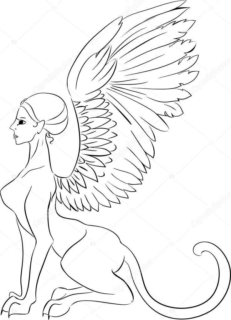 Criatura mitológica de la esfinge — Archivo Imágenes Vectoriales ...