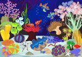 Korálový útes s měkkých a tvrdých korálů. Ekosystém
