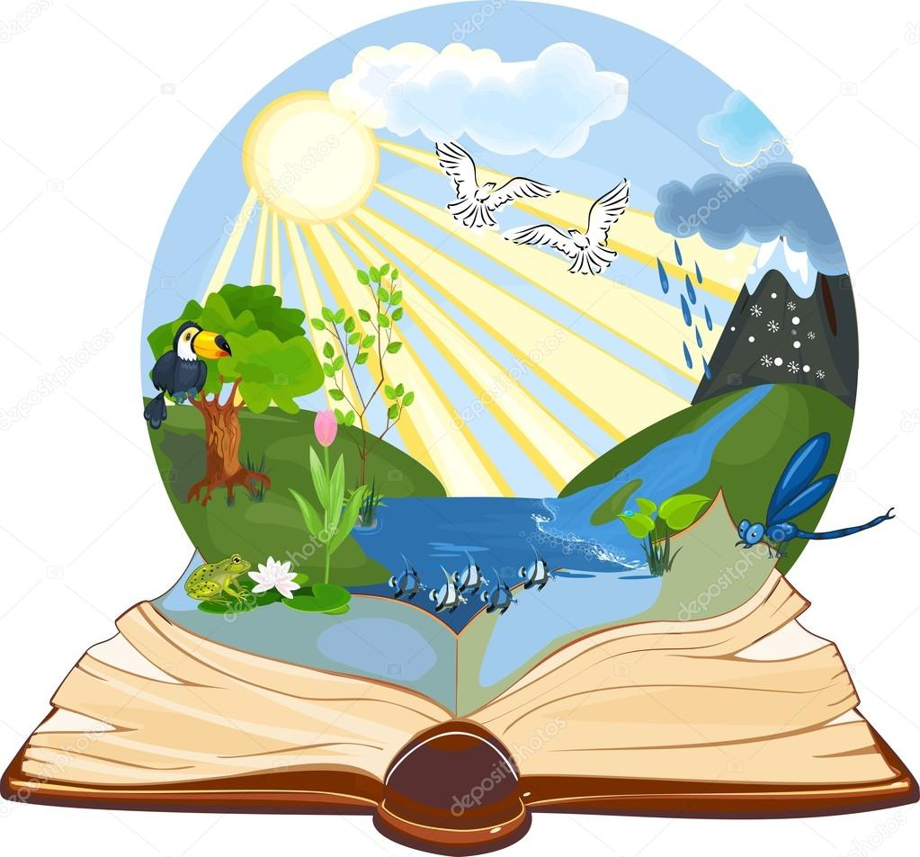Open book with landscape
