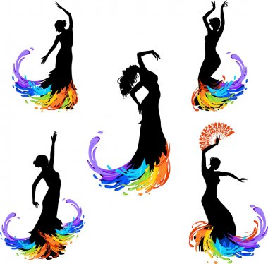 Five silhouettes of flamenco dancer