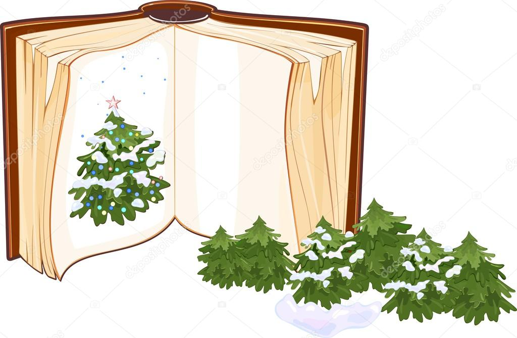 Open book with a Christmas tree