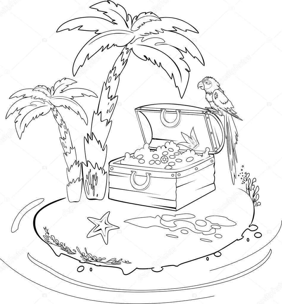 Para colorear con la isla del tesoro — Archivo Imágenes Vectoriales ...