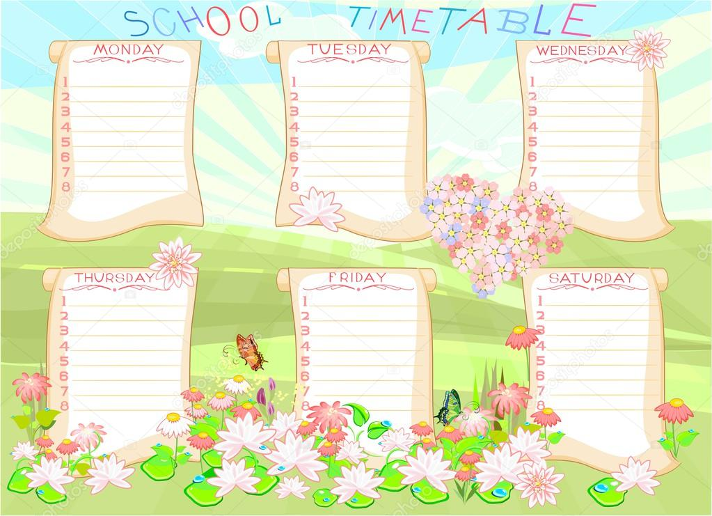 School timetable with flowers