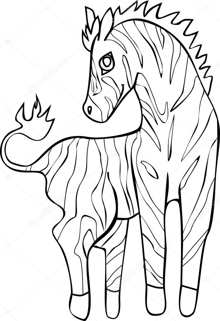 şirin Zebra Ile Boyama Stok Vektör Mariaflaya 87568052