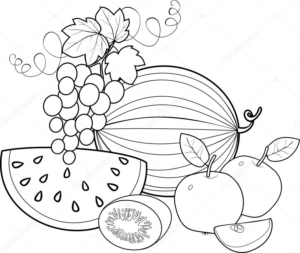 Coloriage Les Fruits.Noir Et Brin Coloriage Fruits Image Vectorielle Mariaflaya