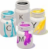 Fotografia lattine con colori Cmyk