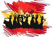 Photo Silhouette flamenco dancer over Spanish Flag Background