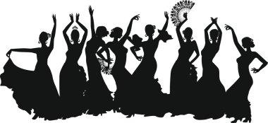 black silhouettes of female flamenco dancer