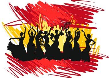 Silhouette flamenco dancer over Spanish Flag Background