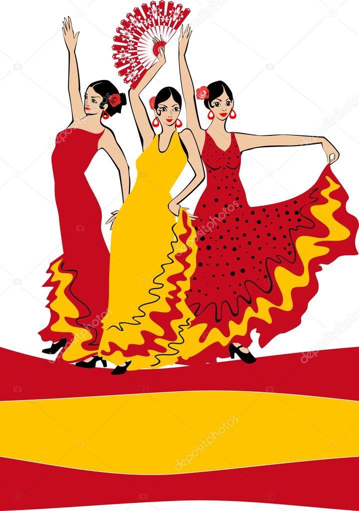 Danseuse de flamenco sur fond de drapeau espagnol image - Dessin danseuse de flamenco ...