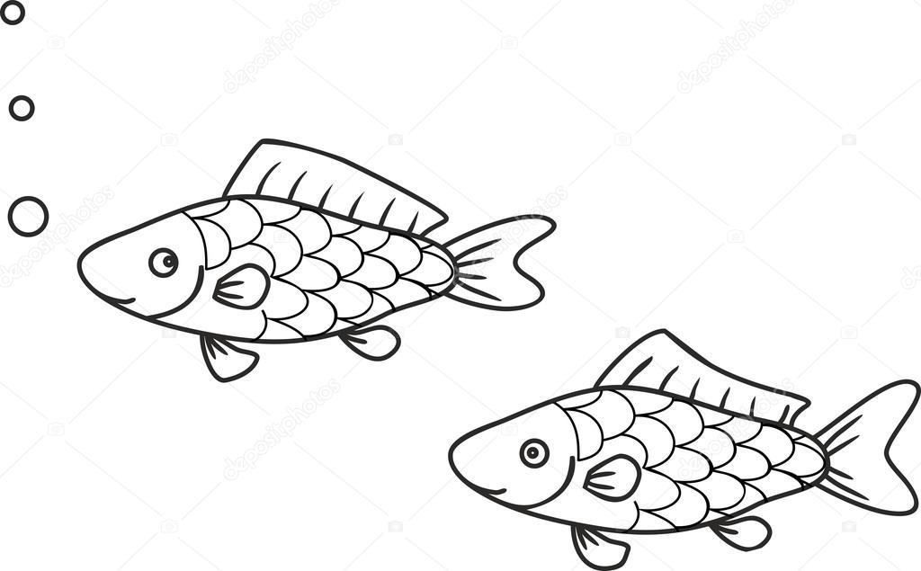 Para colorear con peces — Vector de stock © mariaflaya #88273088