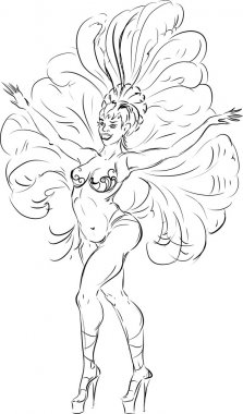 sketch of samba dancer