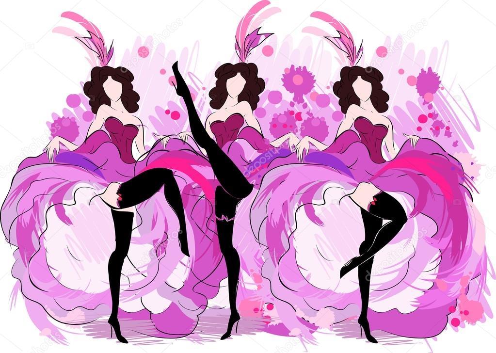 dibujo de bailarinas de canc225n � vector de stock