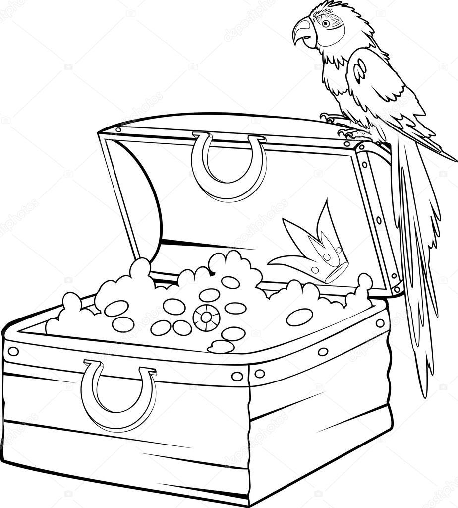 Coloriage avec tr sor et ara perroquet image vectorielle - Dessin de coffre de pirate ...